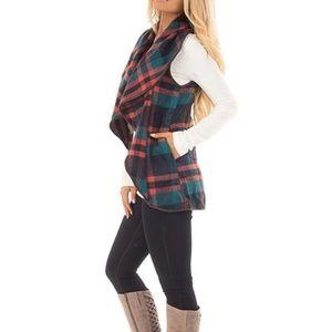 Plaid Asymmetric Sleeveless Open Vest Cardigan